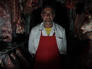 butcher portrait project worker flashlight photography shop meat