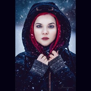 winter bravogreatphoto januszian finland alternative altmakeup alexandrasleaze snowfall instagood photographyislifee photography modeling darkfashion portrait redhair portrait_perfection winterwonderland