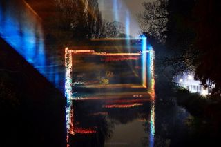winter walk colour refract nature london show form space air dope visual contemporary dark night design set installation laser light art