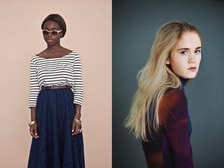 beauties blackgirl blond girls portrait stripes