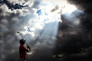 moodysky photography stormclouds golf progolfer silhouette striking getinthehole canon dramatic sunlight clouds sport picoftheday beauty travel golfcourse scenic onthemove homewardbound tournament tourlife eyeofafricapgachampionship cloudscape sunshinetour progolf sportphotography darkclouds rays goldenhour