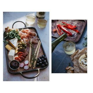 barrow picnic cheese lunch theislandbreak visitjersey gardens styling foodphoto sunlight summer organicwine wine sharingplatter food