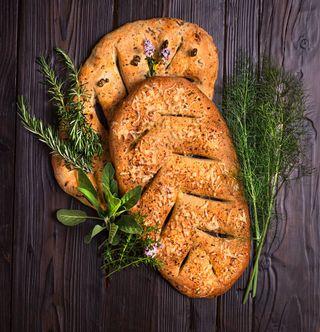 bakinginlockdown bread breadporn cheesybread elinchrombrx500 flatbread foodphotography fougasse frenchbread freshherbs herbbread homebaking olivebread painfran ursulaferrigno