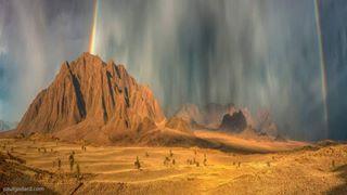 shotoftheday sharemynamibia rainbow potofgold photooftheday photographicexhibition overtherainbow natgeotraveller namibrandnaturereserve namibia mountains landscape desert changeyourperspective
