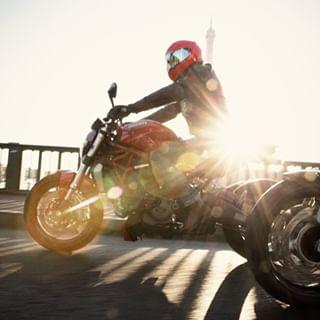 monster motorcycle gotzgoppert red ducati morning cool sun flair paris fun