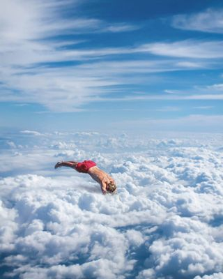 velvetdynasty arty clouds cloudphotography diving theclassyissue photomanipulation visual surrealcollage skydiving
