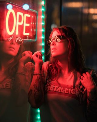 fountainsquare neon reflection night rockerchick photoshoot portrait indianapolismodel tattoo fountainsquareindy tattooedmodel photographerlife sunglassesatnight nikon sunglasses nikond750 tattooedgirls portraitphotography indianapolis indymodels tattoos