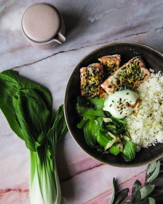 salmon bokchoi egg rice bowl