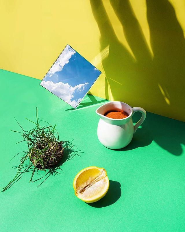 sand concept stillifephotography grass sky setdesign summertime mirror colorful green relax lemon naturallight summer sunlight abstract
