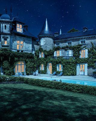 dalvikphotography scandinavianwinter moonlight travel dream longexposure hotel charmingcastle night light
