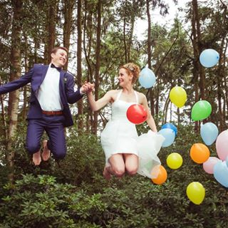 ballons flying happy hochzeit love wedding