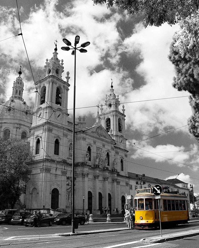 blackandwhite lisbon portugal yellowtram