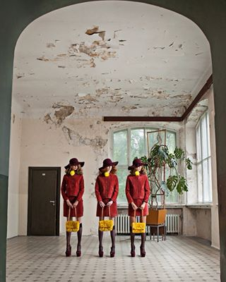 agencyiconcreatives editorial fashion fauxfur hats lilianmerilaphotography triplets wesandersen