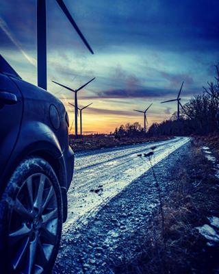 black car energy estonia europe generating mazda nature paldiski pictureoftheday road siluet windenergy windturbine дорога палдиски эстония