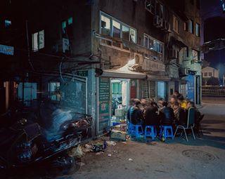 china dinner nightcity shanghai family