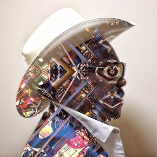 clockwork machinery head industrial fashion steampunk manipulation westyorkshire design cowboy face clothing robot portrait
