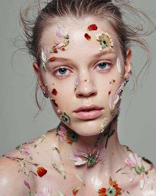 makeup flowers hair outtake beauty styled