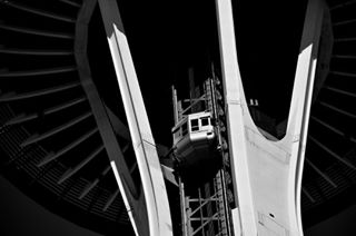 elevator architecture throwback detail stripes contrast stunning beautiful closeup blackandwhite usa seattle construction composition spaceneedle photography light shadows