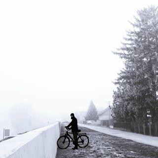 fog photography osijek man bycicle blackandwhite
