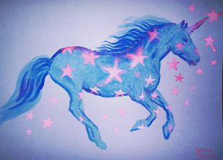 unicorn painting blue watercolor