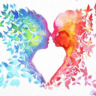 watercolor kissing painting kiss lovers soulmates love butterflies