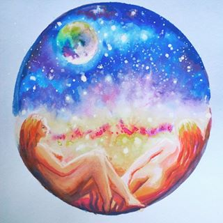 painting love lovers watercolor universe