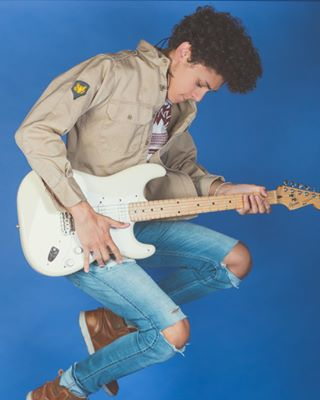 vintage tshirt studio rocker profile poster pose portrait musician lighting jump jeans jacket guitar flat fashion denim classic cgannphotography canon70d blur bio berlin augustingram artist art 50mm