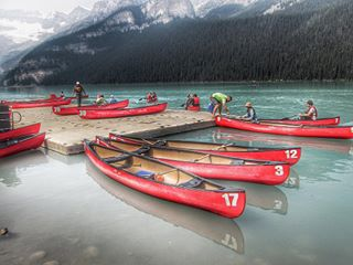 canoeing windowseat150 lakelouise canada150 banffnationalpark rockymountains reflection