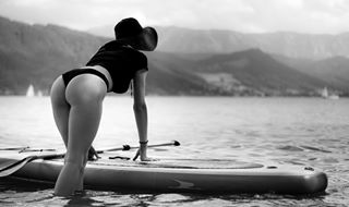 view bw portrait youpic girl flickr lovely woman blackandwhite water standuppaddle austria attersee viewbug model sport shooting nature beauty loveforlove lake 500px hat photooftheday gurushots photoshoot bikini österreich mountains akphotography