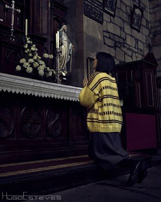 caminosantiago faith woman photo yellow church