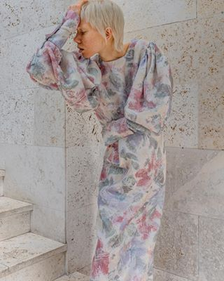 marble copenhagen danskdesign scandinavianart sustainable fashionlabel deadstockfabric sustainablefashion fashion fashionphotography polishphotographer dansk dress moda blondemodel lookbook wintergarden