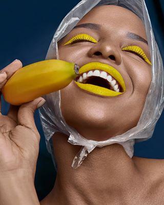 blackskin art model smile beauty yellow portrait happy creative blackmodel