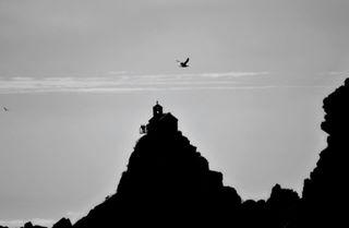 sea sky church stone pathport faith rocks trust blackandwhite strong bird