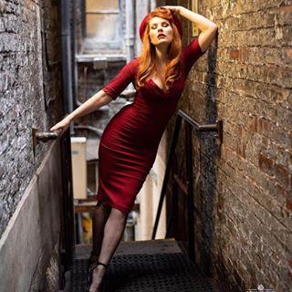 beret burgundy chic photoshoot redhair nikongallery reddress classy london fishnetstockings onlocation