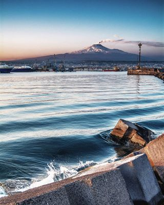 harbour catania italy etna sicily love sea photooftheday nature amazing mountain volcano igers city sky clouds sunset colorful catania_illife photography catania_bestphoto landscape