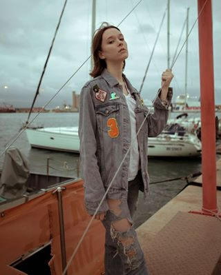 naturalmakeup vintage dock model photography girl port wind denim sleep outfit nature red tieup stormy beauty editorial canon canon5dmkii ootd pure ocean story feelings portrait sea