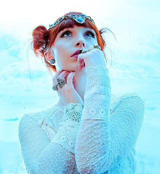 model lace princess redhair photography blue ring makeup beauty photoshoot jewelry fashion