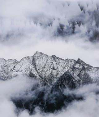 photoshop cold sky dawn ice nature outdoors monochrome high mist mountain winter landscape snow fog wood