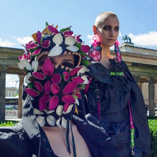 avantgarde fashionphotography luxury nohairs madebymeasure highfashion photography mask wearableart sewing berlin lestherharness hautecouture costume artwork handmade androgyn tailoring jewellery shooting couturemask flowers summer design earrings model dresses editorial smokeyeyes berlinmodels