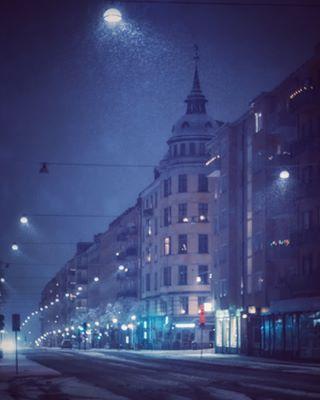 stockholm weroamsweden stockholm_insta igscstockholm wintertime snowfall moody stockholmbynight
