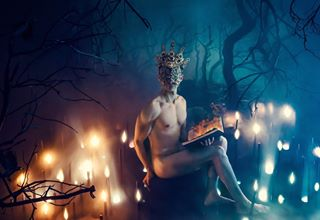 artdirection body naked fog followme dark art candles darkphotography darkforest photography photoshoot male forest fire