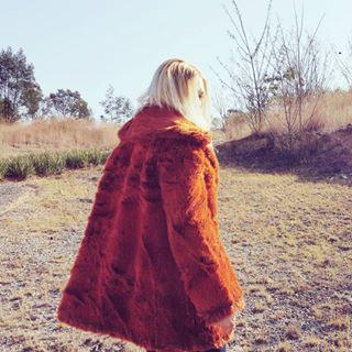 orange coat fauxfur