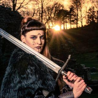 courage strength vikingbloodline warriorbloodline swordandshield northmen historicalphotography modelphotography sunsetphotography vikingwarrior shieldmaiden noremythology