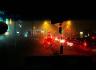personal photography gambatte journey ontheroad japan cinematic foggy fog warm colors moody mood driver work truck road night selfinitiated longterm personalproject