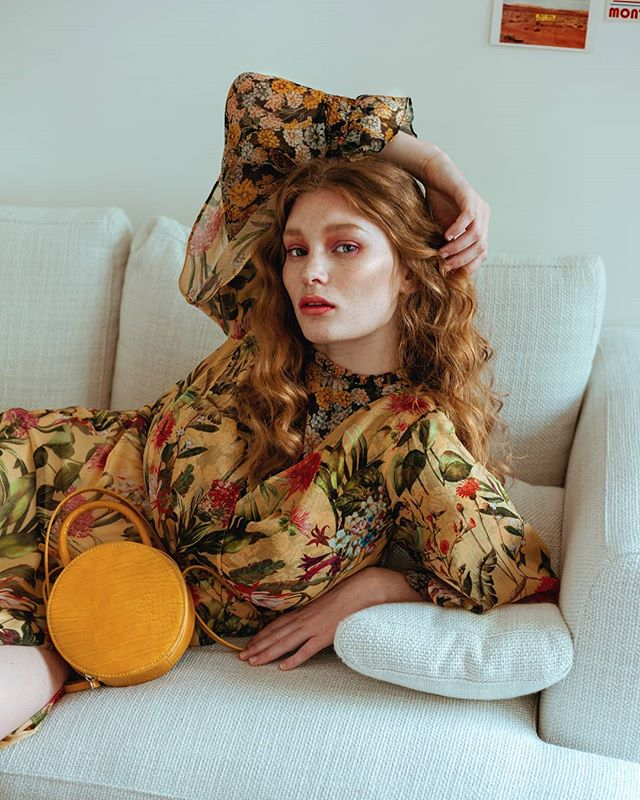 softness stylist londonphotographer makeupartist model editorial floral redheaded vintage hairstylist yellow preraphaelite