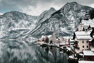 austria city cloud hallstatt lagoon landscape mirror mountain österreich snow thestreetphotographyhub white winter