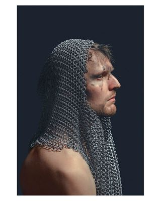 story chainmail knight classic medieval mail darkness model photo crusaders armor blue man conceptual phaseone portrait chain fatigue studio dark romanticism studiophotography renaissance fineart art photography