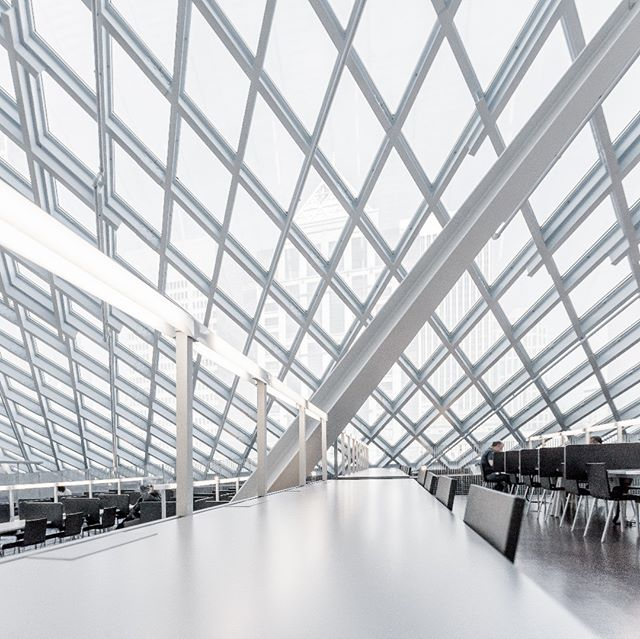 light architecture desks study foreground white seattle library