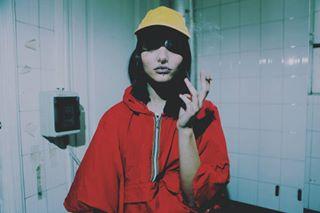 fashion winter model photo instafashion wear portrait colour stylish smoke jacket coat hat cigarette outwear red yellow pic photos portraiture style pics raincoat