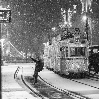 winter budapest tram streetphotography sister snow